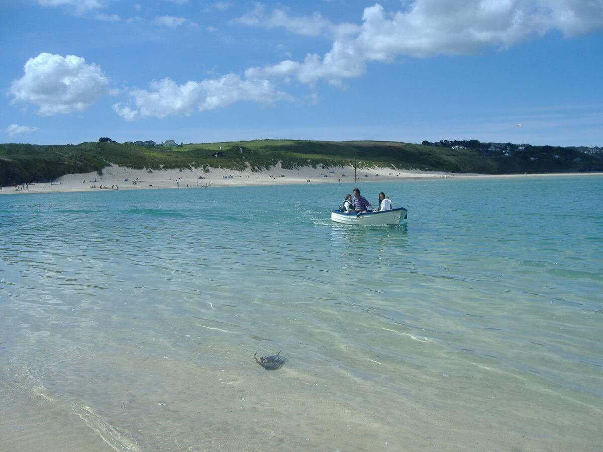 dingy in st ives bay